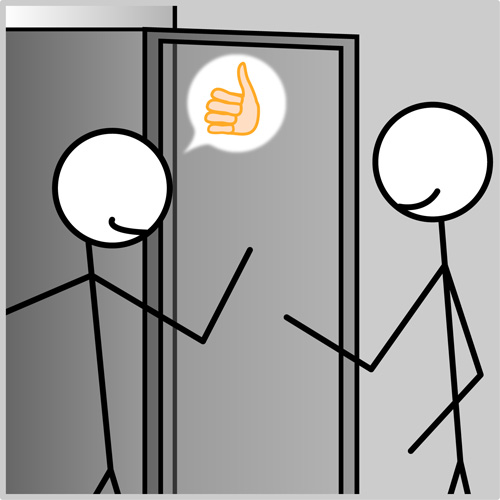 Polite Sticky Holds the Door for a Stranger